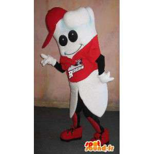 Tandmaskot, klædt som en tilhænger, sund sport forklædning -