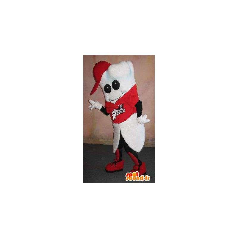 Mascotte de dent, habillée en supporter, déguisement sport santé - MASFR001653 - Mascotte sportives