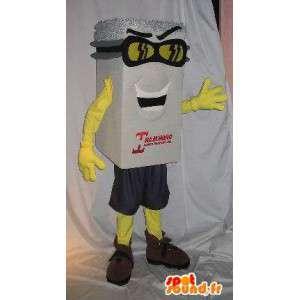 Mascot paquete blanco, sombrero de plata, disfrazado de mano- - MASFR001656 - Mascotas de objetos