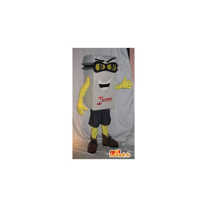 Maskotti valkoinen paketti, hopea hattu, raahata naamioida - MASFR001656 - Mascottes d'objets