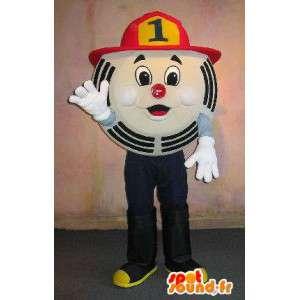 Okrągły znak maskotka, kostium strażaka