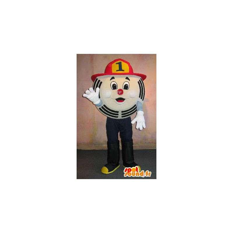 Okrągły znak maskotka, kostium strażaka - MASFR001658 - Niesklasyfikowane Maskotki