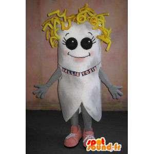 Tandmaskot med guldhår, blond förklädnad - Spotsound maskot