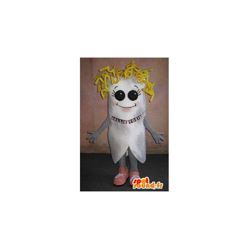 Mascotte de dent aux cheveux or, déguisement de blonde - MASFR001659 - Mascottes non-classées
