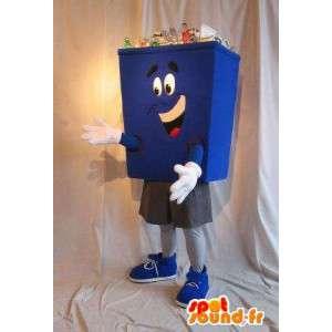 Blaue Papierkorb Maskottchen Kostüm öffentlichen Dienst
