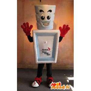 Glass maskot med dess behållare, keramisk förklädnad -