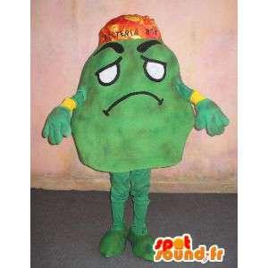 Maskot som representerar en bakterie, medicinsk förklädnad -