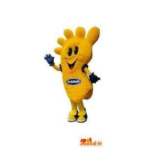 Gele voet mascotte kostuum vormige voet