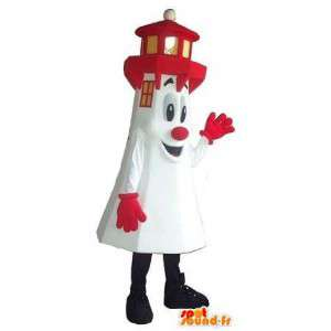 Farol branco e vermelho mascote, traje Breton - MASFR001674 - objetos mascotes