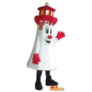 Mascotte de phare blanc et rouge, déguisement breton
