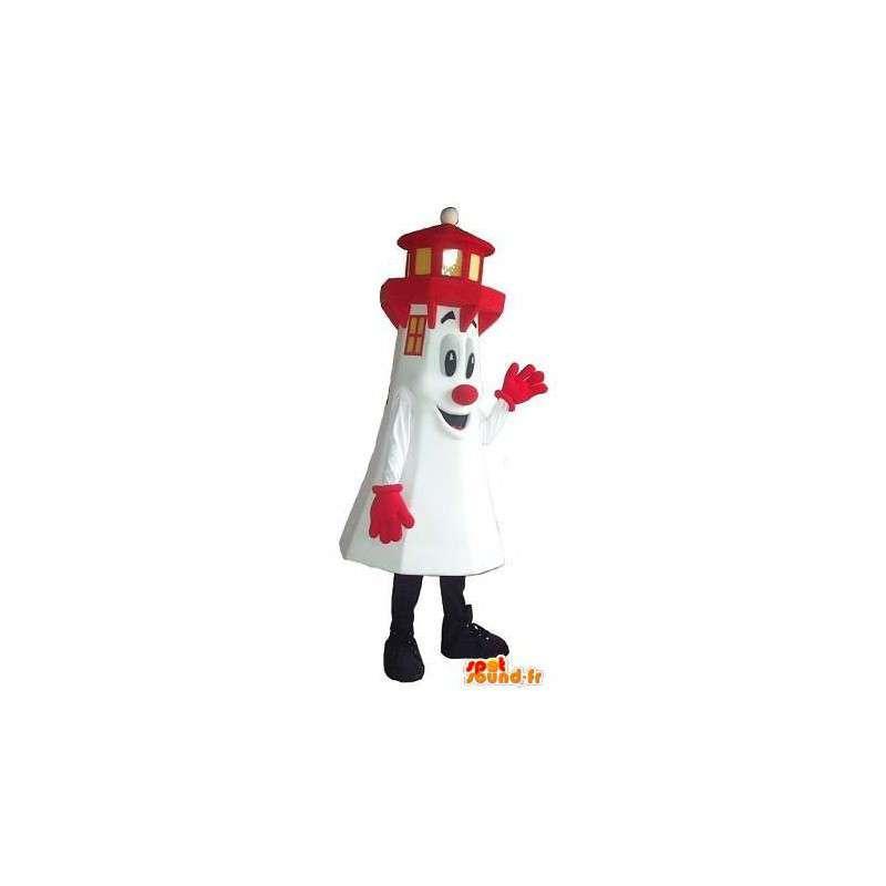 Mascotte de phare blanc et rouge, déguisement breton - MASFR001674 - Mascottes d'objets