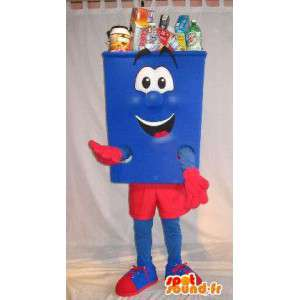 Mascot shaped trash red and blue costume cleanliness