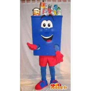 Maskot i form af blåt og rødt skrald, renlighed forklædning -