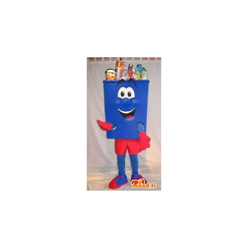 Formet maskot blå og rød søppel drakt renslighet - MASFR001677 - Maskoter gjenstander