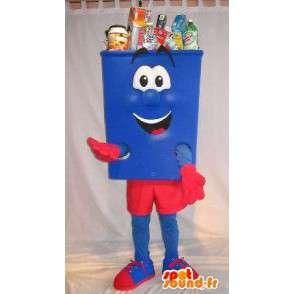 Mascotte en forme de poubelle bleue et rouge, déguisement propreté - MASFR001677 - Mascottes d'objets