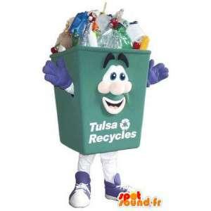 Maskot zelená recyklace čistota bin kostým
