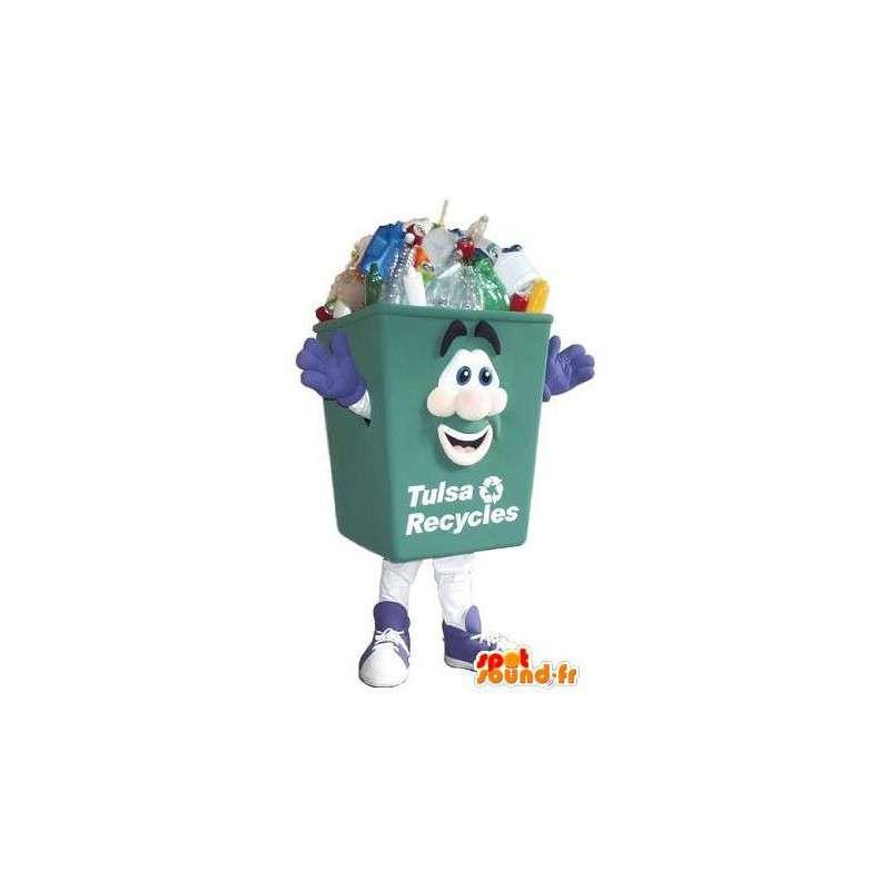 Mascot verde reciclaje bin limpieza de vestuario - MASFR001680 - Casa de mascotas