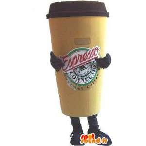 Vormige mascotte kopje koffie, espresso verhullen