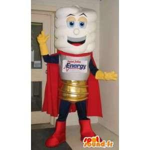 Maskot som representerar en glödlampa, ljus förklädnad -