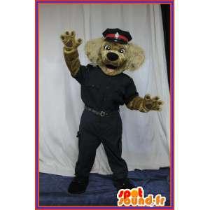 Costume cane vestito come un ufficiale di polizia, mascotte della polizia