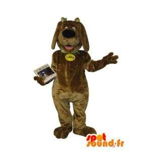 Mascotte de chien joyeux, marron clair, déguisement de chien