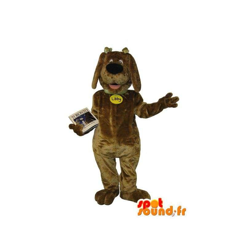 Mascotte de chien joyeux, marron clair, déguisement de chien - MASFR001698 - Mascottes de chien