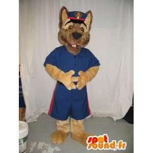 Mascotte de loup en uniforme d'agent de sécurité américain