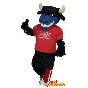 Stier-Maskottchen-Kostüm tragen American Football-Unterstützung - MASFR001702 - Bull-Maskottchen