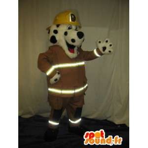 Mascotte de chien, pompier new-yorkais, déguisement de pompier