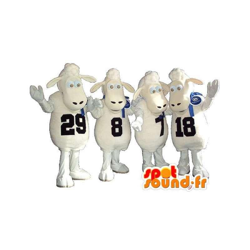 Lot van schapen mascottes, omkranst, groep kostuum - MASFR001704 - schapen Mascottes
