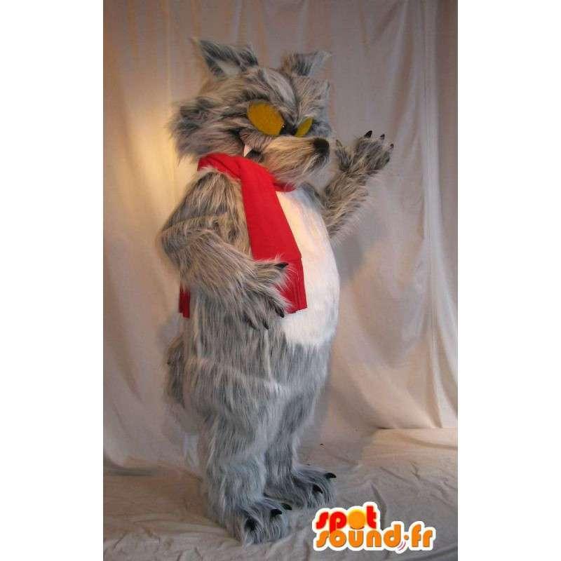 Big Bad Wolf Maskottchen beängstigend Kostüm - MASFR001709 - Maskottchen-Wolf