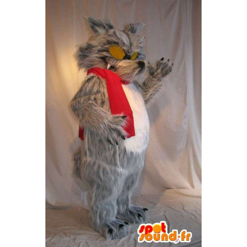 Mascot av den store stygge ulven, skremmende forkledning - MASFR001709 - Wolf Maskoter