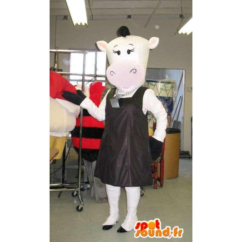 Lehmän maskotti muodikas mannekiini valepuvussa - MASFR001710 - lehmä Maskotteja