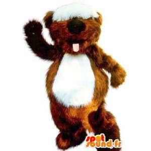 Beaver Mascot con mechón en los ojos, roedor traje - MASFR001711 - Mascotas castores