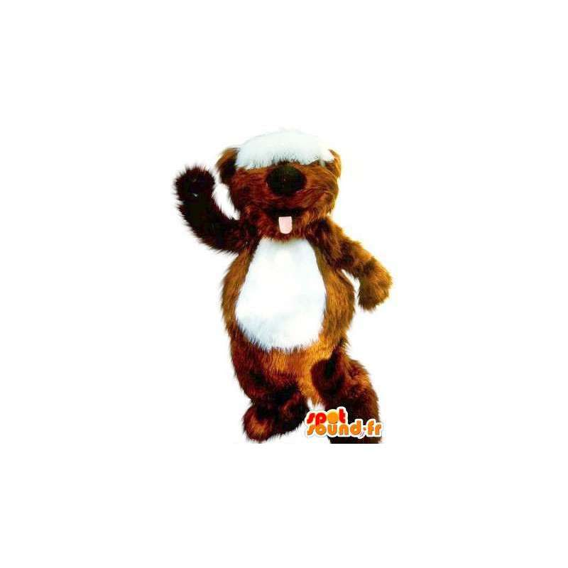 Mascotte de Castor avec touffe sur les yeux, déguisement rongeur - MASFR001711 - Mascottes de castor