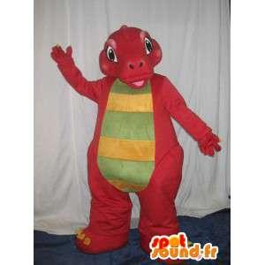 Maskot av en liten röd drake, imaginär djurförklädnad -