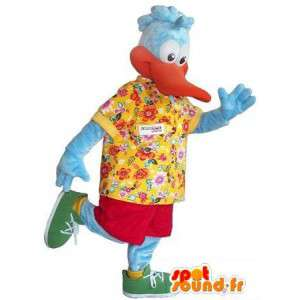 Duck mascot dressed Hawaiian tourist costume