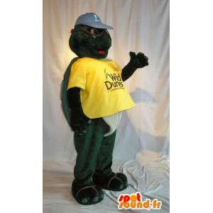 Mascotte de tortue en tenue jaune, déguisement de carapace