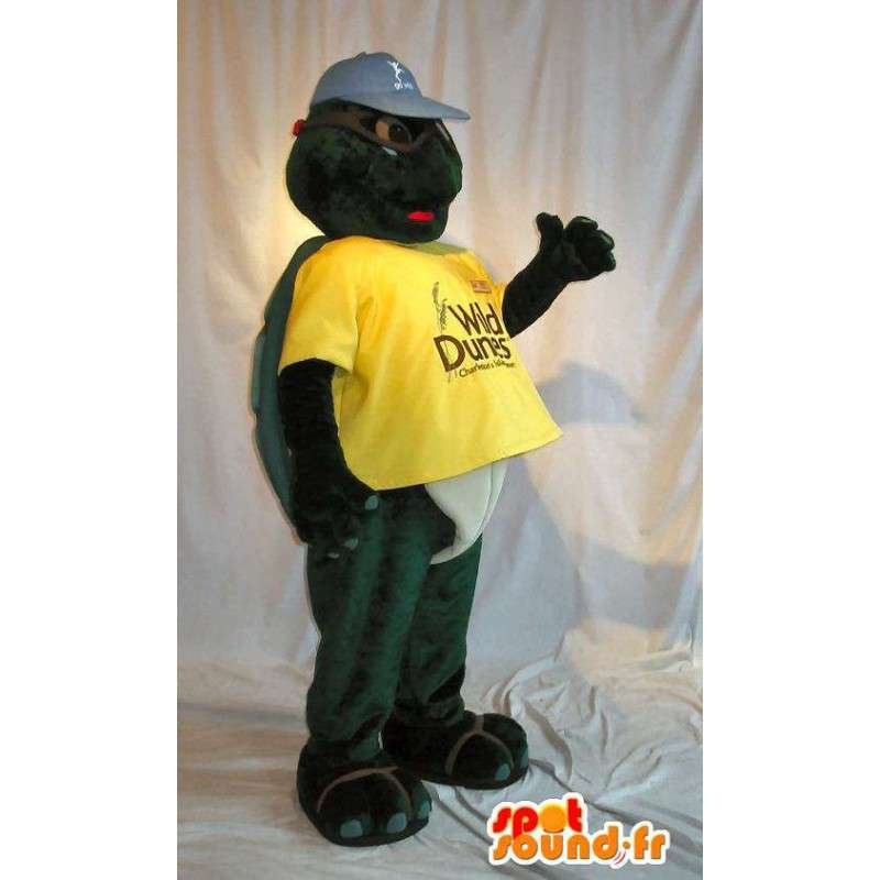 Turtle mascot holding yellow costume armor - MASFR001722 - Mascots turtle