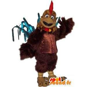 Mascot representando um galo robusto, disfarce atleta