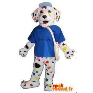 Mascotte de dalmatien multicolore, déguisement de chien