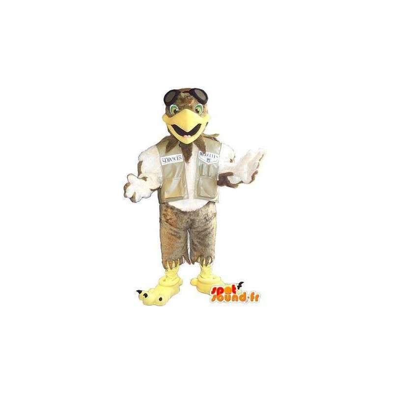 Mascotte représentant un aigle pilote, déguisement d'aviateur - MASFR001729 - Mascotte d'oiseaux