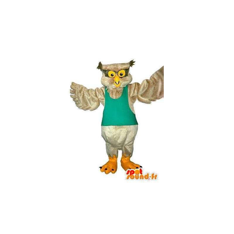 Mascotte hibou de couleur beige, déguisement d'oiseau - MASFR001730 - Mascotte d'oiseaux