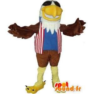 Maskot představující zlatého orla, americký kostým