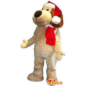 Μασκότ του σκύλου με το καπέλο, τα Χριστούγεννα κοστούμι
