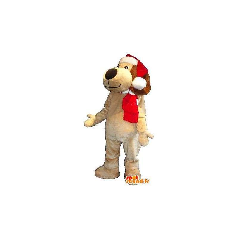 Maskottchen von einem Hund mit Hut Weihnachtskostüm - MASFR001733 - Hund-Maskottchen