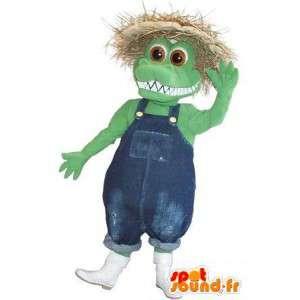 Mascotte représentant un crocodile paysan, déguisement agricole