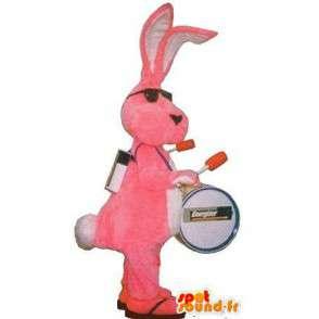 Maskot představující růžový králík přestrojení man band - MASFR001735 - maskot králíci