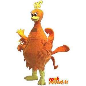 Mascotte de poule de couleur orange, déguisement de poule