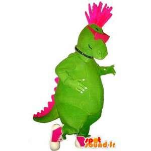 Mascot look punk dinosaurio, traje de rock